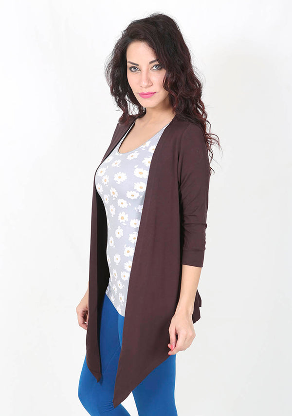 De Moza Ladies Longline Waterfall Shrug Brown - De Moza