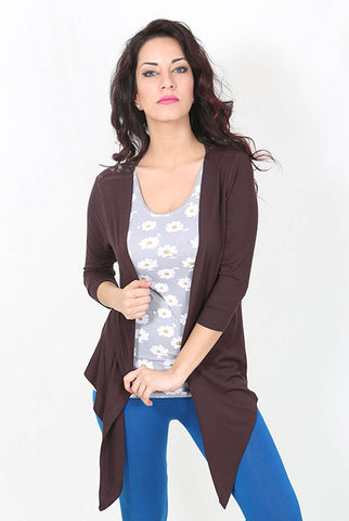 De Moza Ladies Shrug Regular Length Viscose Lycra Brown