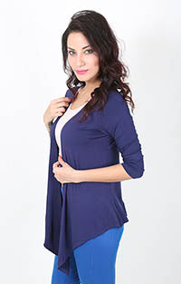 De Moza Ladies Longline Waterfall Shrug Navy Blue - De Moza