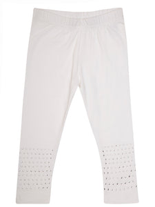 De Moza Young - Girls Leggings Ankle Length Solid Cotton Lycra White - De Moza