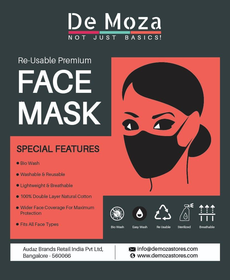 De Moza Women's Face Mask Pack 3 Cotton White - De Moza