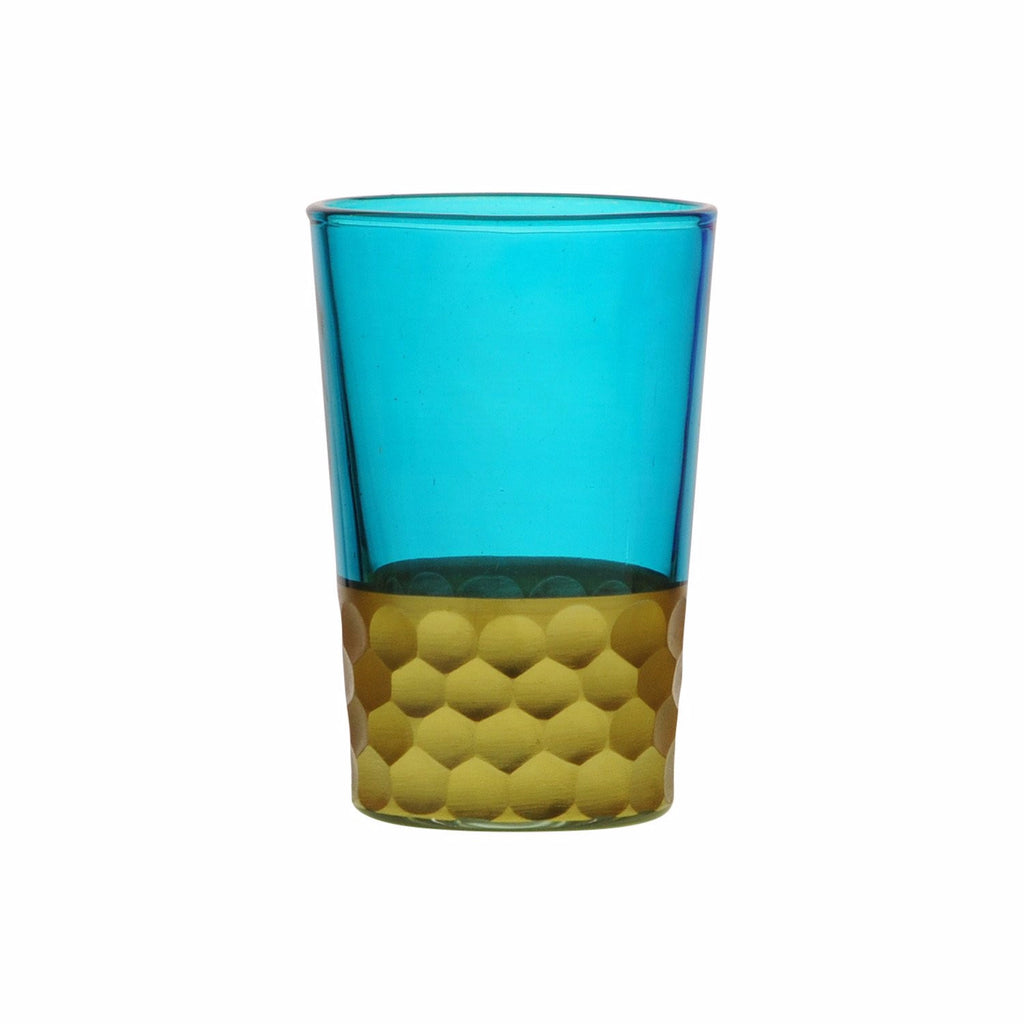 Tea Glass Tila Gold, Aqua. D6xH9,5 cm