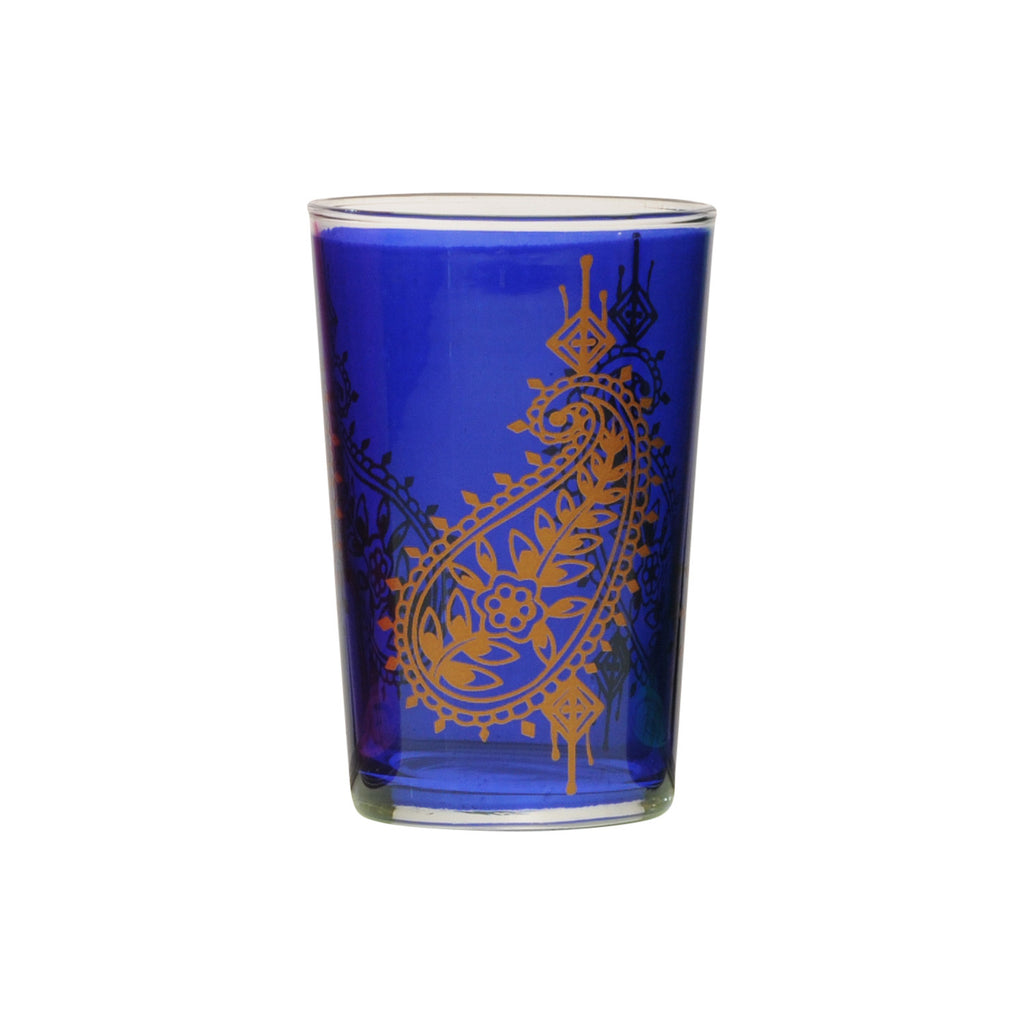 Tea Glass Paisley, Royal Blue. D6xH9,5 cm