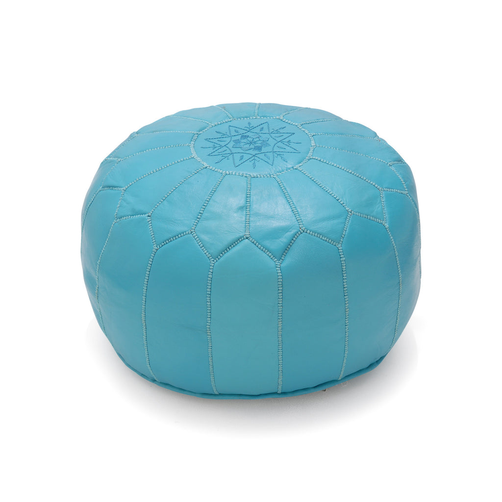Leather Pouf Tassira S, Aqua
