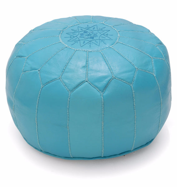 Leather Pouf Tassira M, Aqua