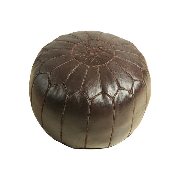 Leather Pouf Tassira S, Chocolat