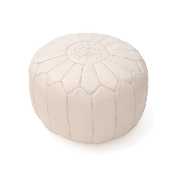 Leather Pouf Tassira S, Cream