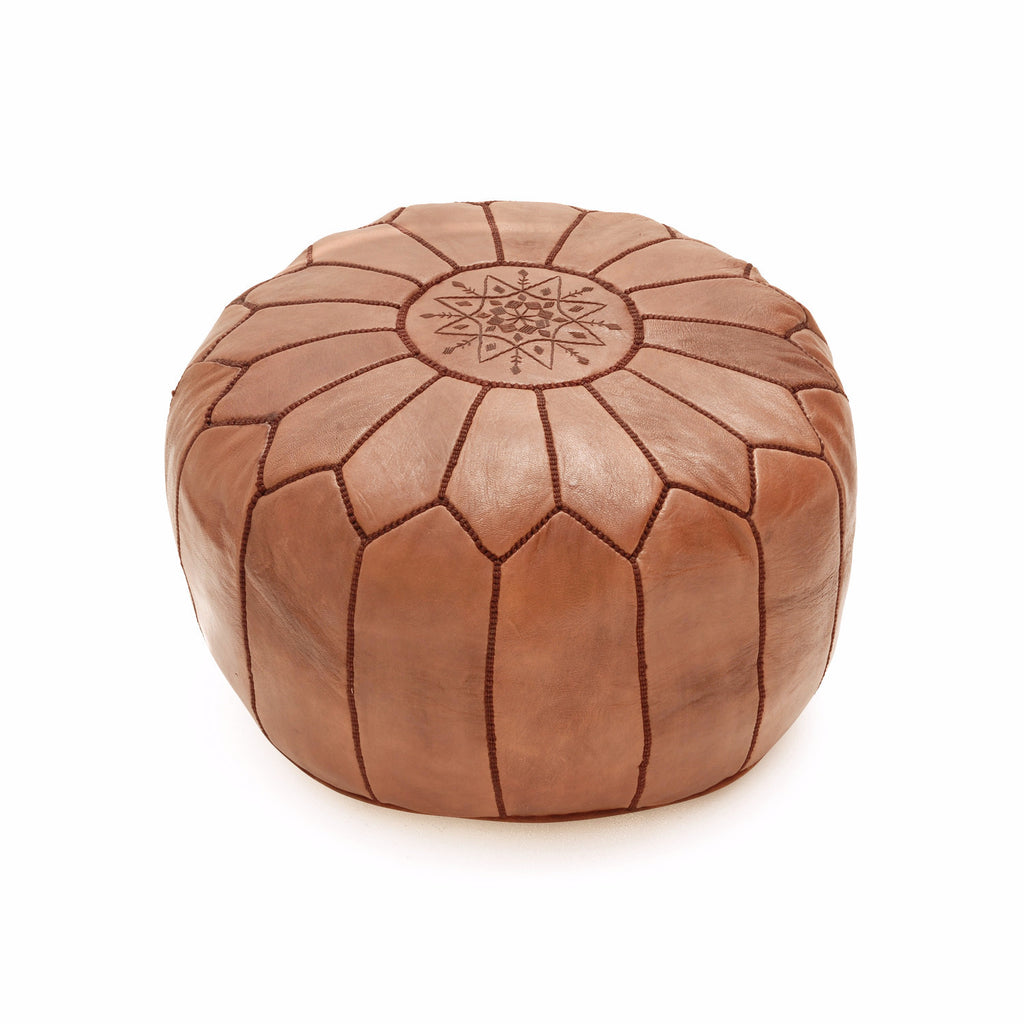 Leather Pouf Tassira S, Almond Brown
