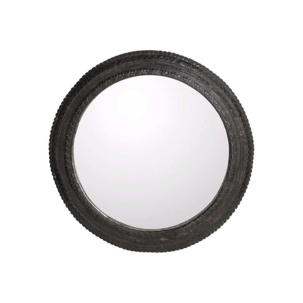Rubber Mirror round, D100 cm. Raw Black