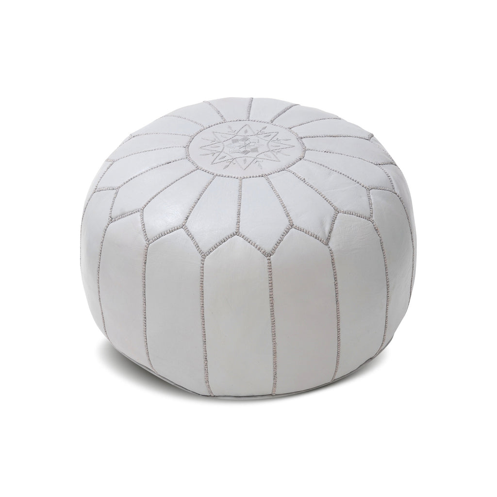 Leather Pouf Tassira S, Light Grey