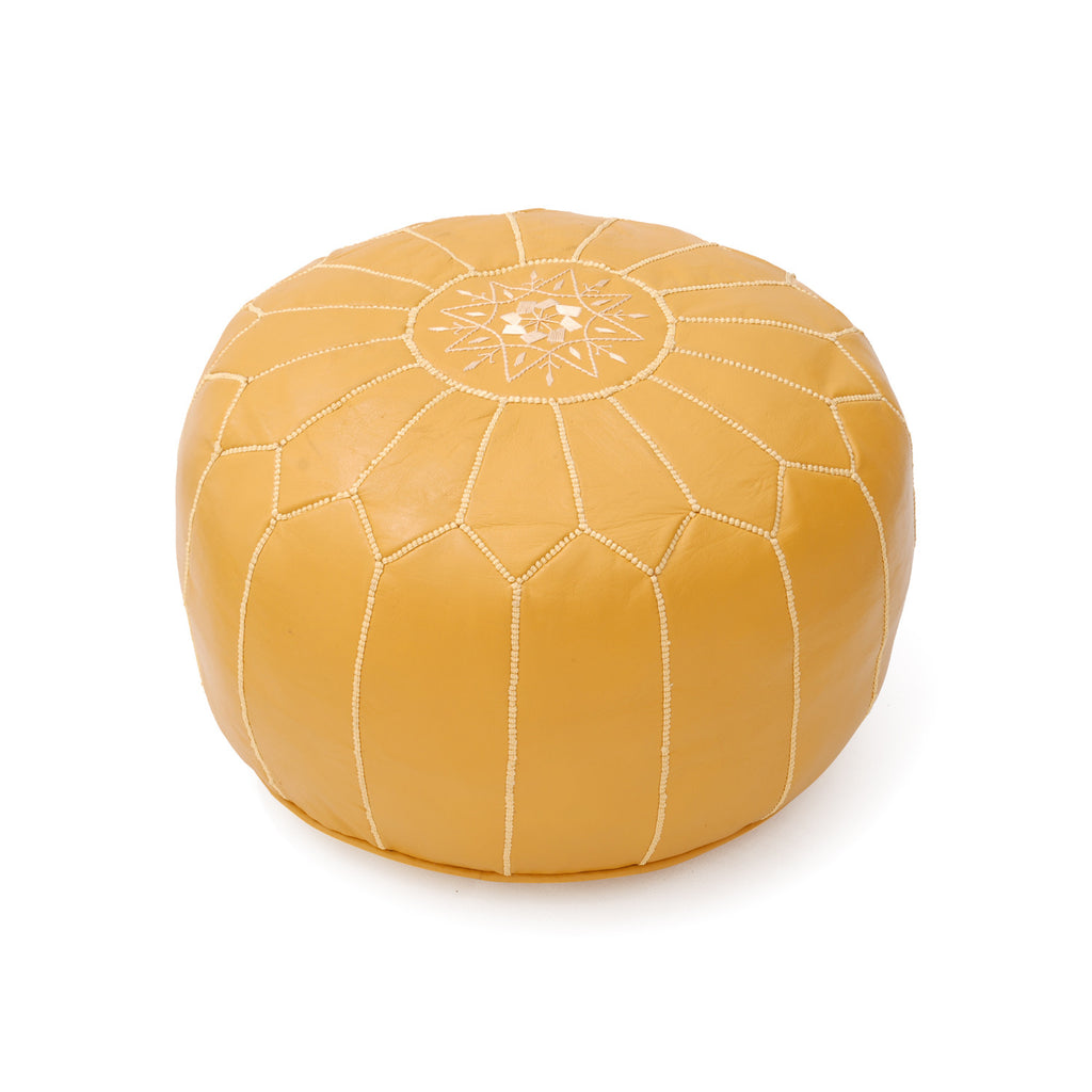 Leather Pouf Tassira S, Maize