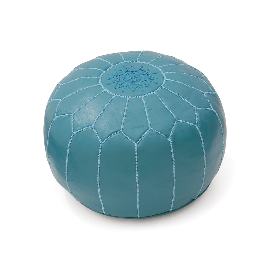 Leather Pouf Tassira S, Ocean