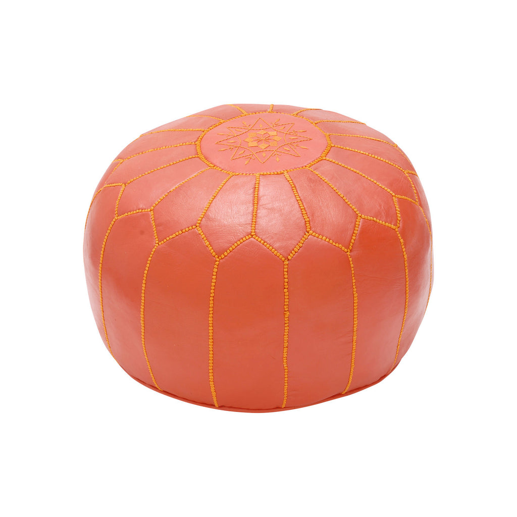 Leather Pouf Tassira S, Orange