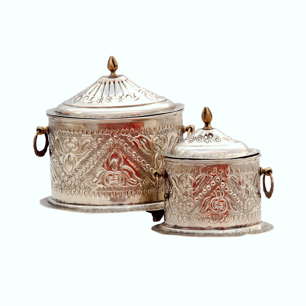 Antique Tea Caddy Oval, silver-M