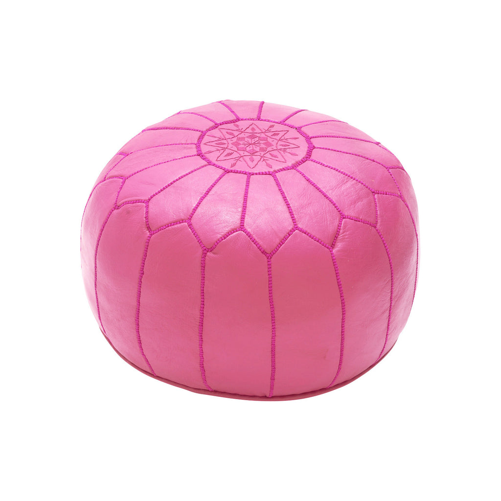 Leather Pouf Tassira S, Pink