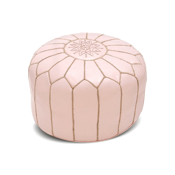 Leather Pouf Tassira S, Powder