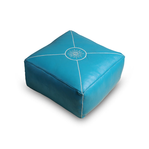 Square Leather seater, Aqua. Sku Nr.21U11-99-99-999/005