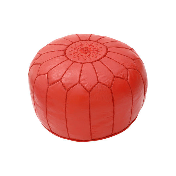 Leather Pouf Tassira S, Red