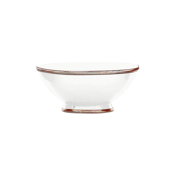 Ceramic Bowl w. Silver Trim, D20 cm, White