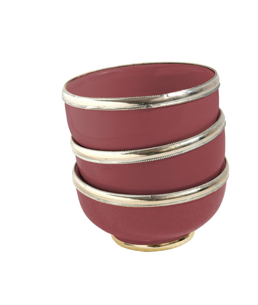 Ceramic Bowl w. Silver Trim, D10 cm, Bordeaux
