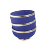 Ceramic Bowl w. Silver Trim, D10 cm, Cobalt Blue