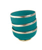 Ceramic Bowl w. Silver Trim, D10 cm, Emerald