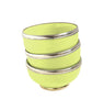 Ceramic Bowl w. Silver Trim, D10 cm, Lime