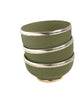 Ceramic Bowl w. Silver Trim, D10 cm, Olive Green
