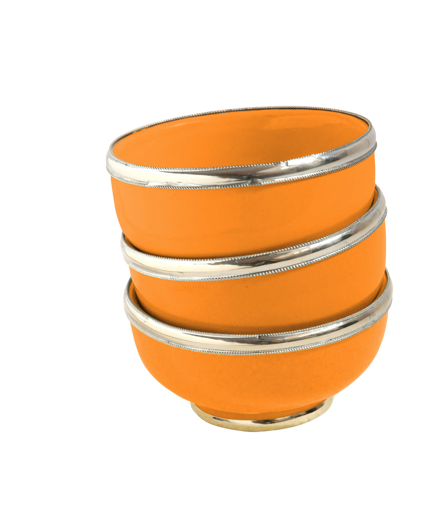 Ceramic Bowl w. Silver Trim, D10 cm, Orange