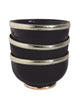 Ceramic Bowl w. Silver Trim, D12 cm, Black