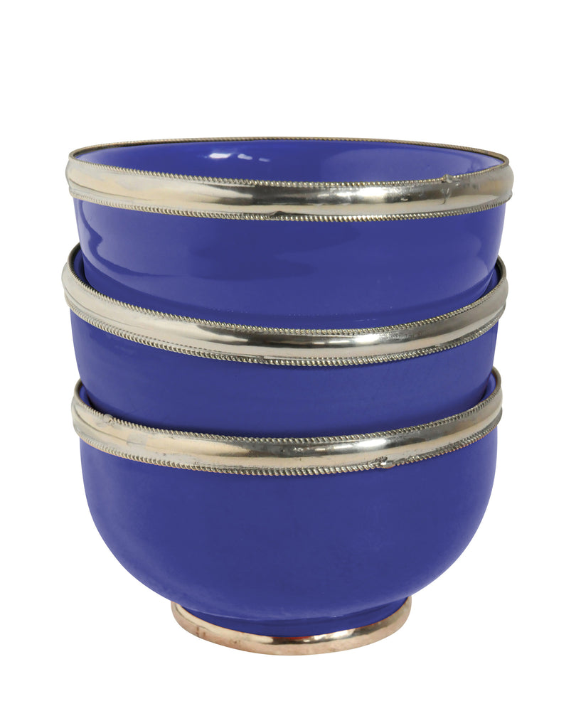 Ceramic Bowl w. Silver Trim, D12 cm, Cobalt Blue