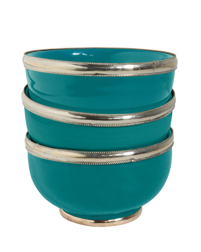 Ceramic Bowl w. Silver Trim, D12 cm, Emerald