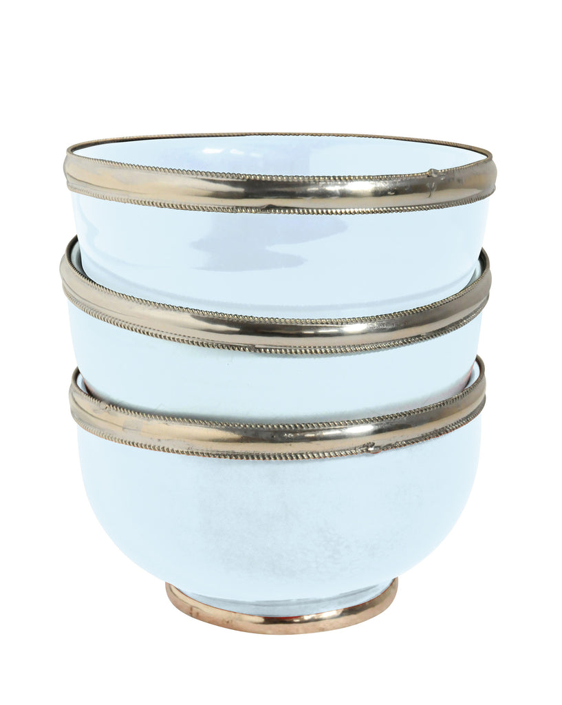 Ceramic Bowl w. Silver Trim, D12 cm, Light Blue