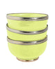 Ceramic Bowl w. Silver Trim, D12 cm, Lime
