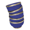 Ceramic Bowl w. Silver Trim, D8 cm, Cobalt Blue