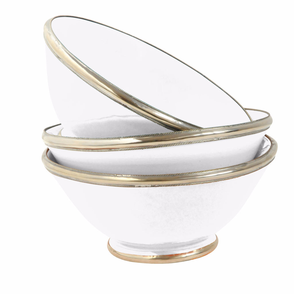 Ceramic Bowl w. Silver Trim, D16 cm, White