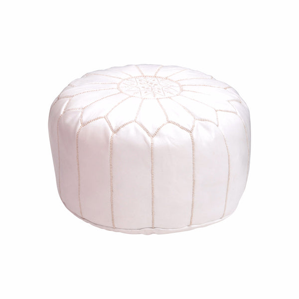 Leather Pouf Tassira S, White