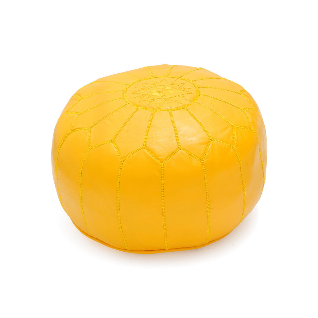 Leather Pouf Tassira S, Lemon