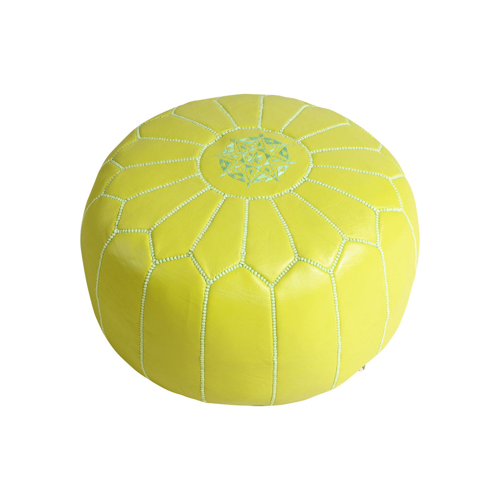 Leather Pouf Tassira S, Anis Green