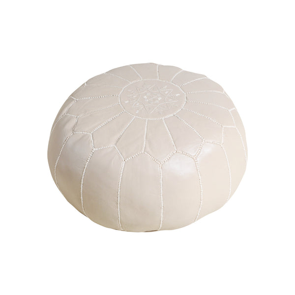 Leather Pouf Tassira S, Sand
