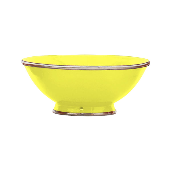 Ceramic Bowl w. Silver Trim, D25 cm, Lemon