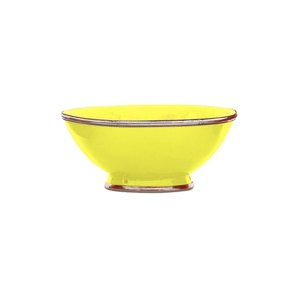 Ceramic Bowl w. Silver Trim, D20 cm, Lemon