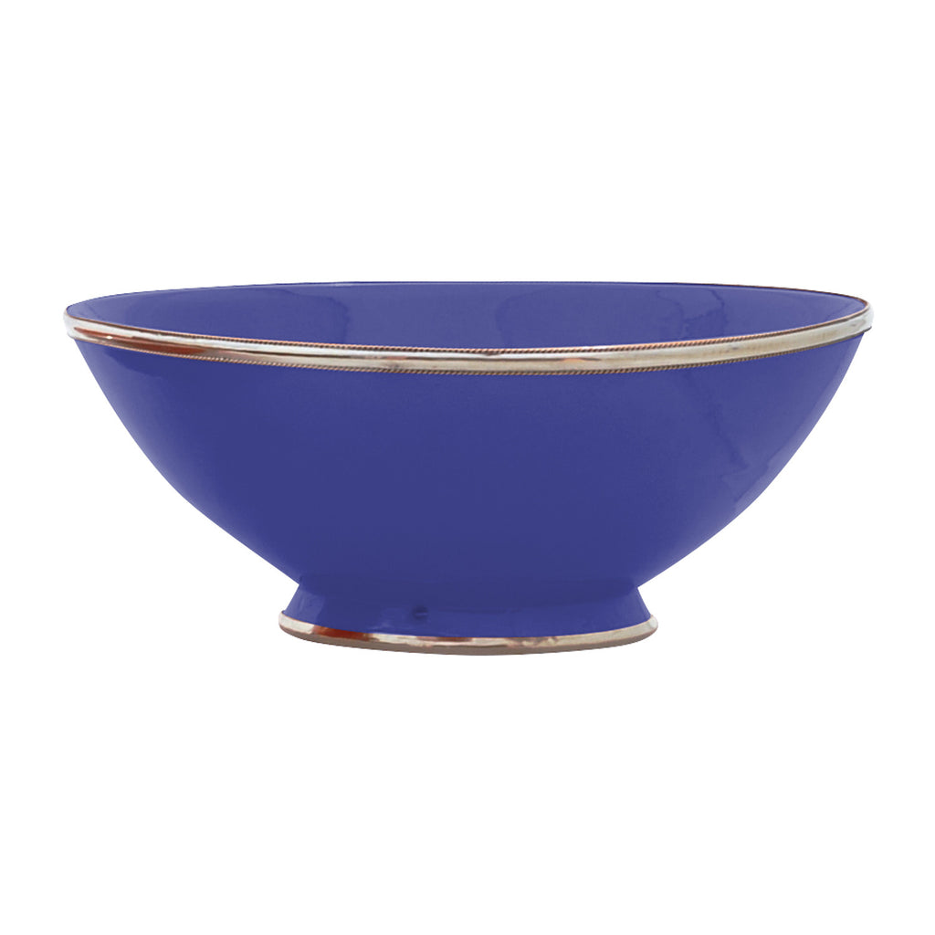 Ceramic Bowl w. Silver Trim, D30 cm, Cobalt Blue