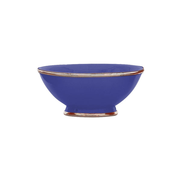 Ceramic Bowl w. Silver Trim, D20 cm, Cobalt Blue