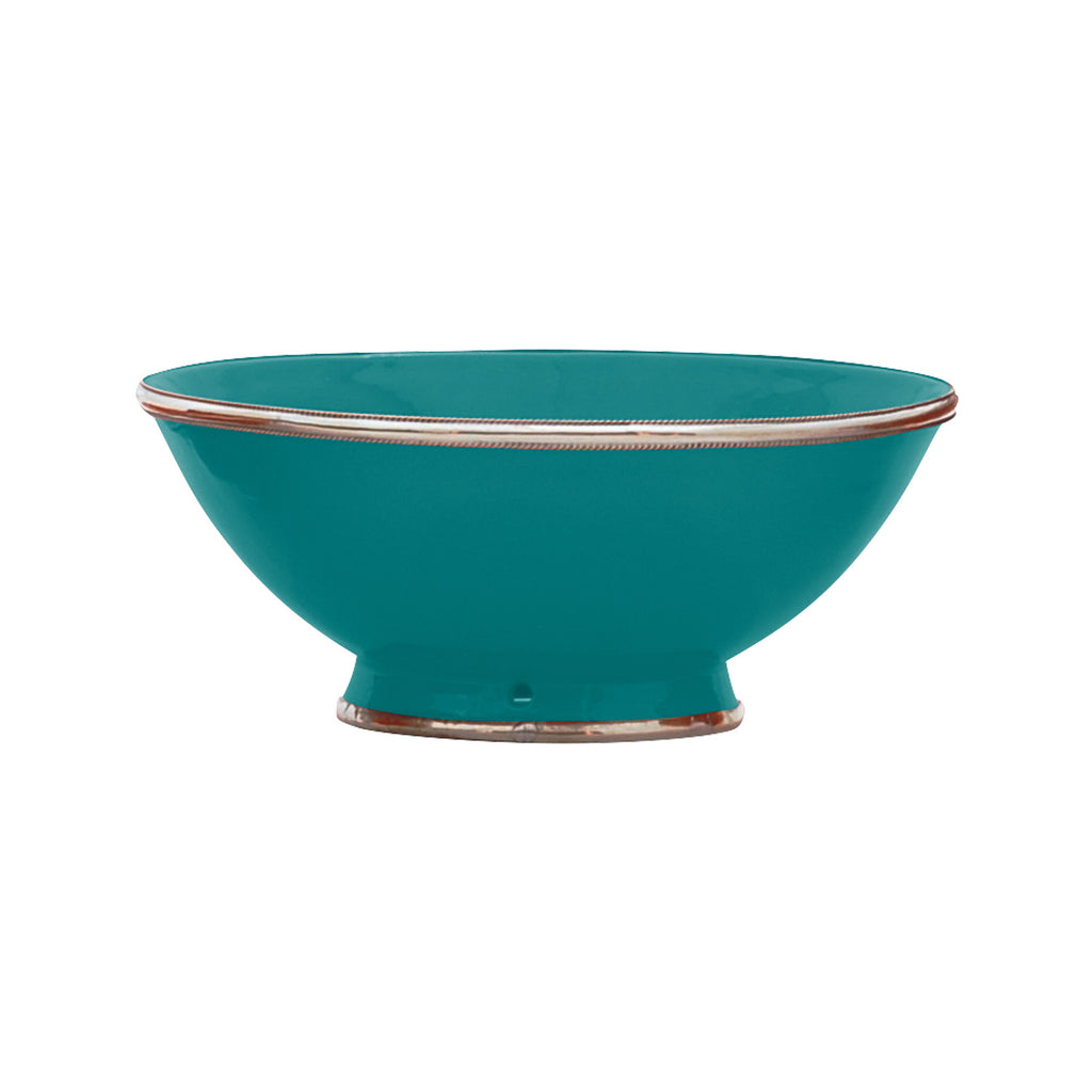 Ceramic Bowl w. Silver Trim, D25 cm, Emerald