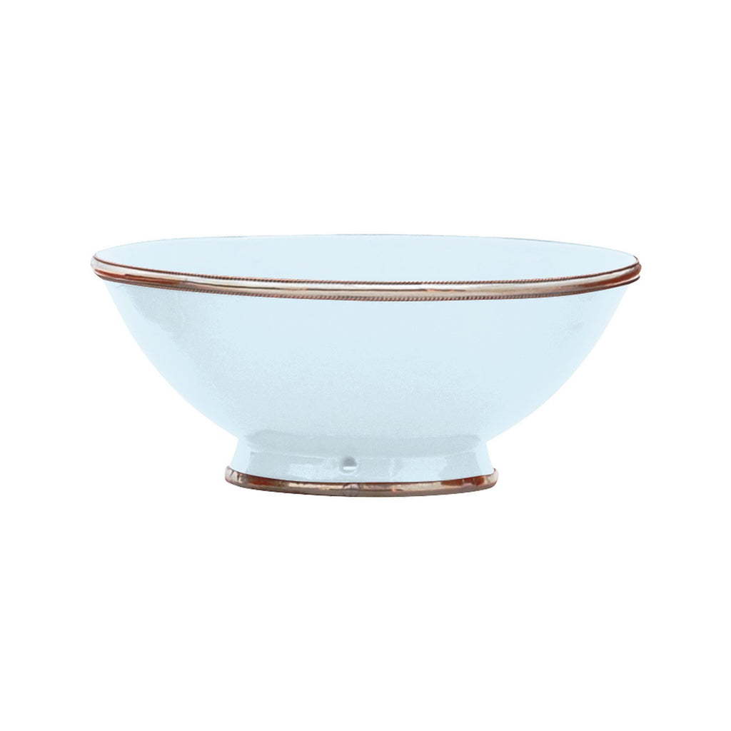 Ceramic Bowl w. Silver Trim, D25 cm, Light Blue