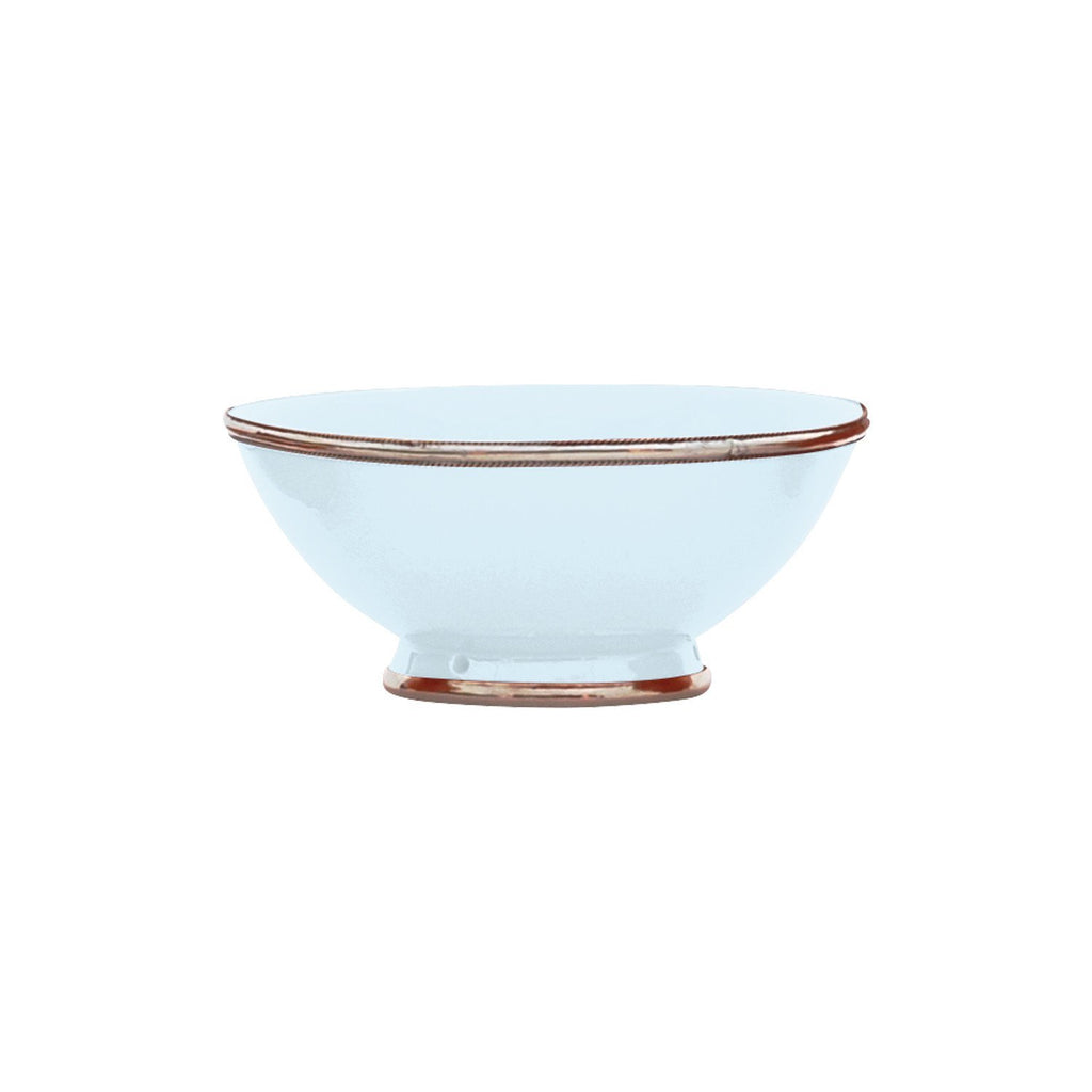 Ceramic Bowl w. Silver Trim, D20 cm, Light Blue