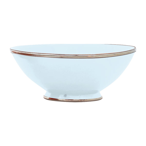 Ceramic Bowl w. Silver Trim, D30 cm, Light Blue