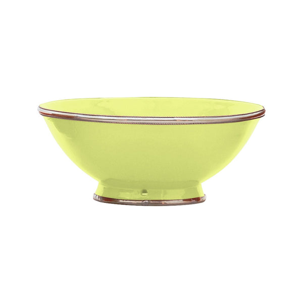 Ceramic Bowl w. Silver Trim, D25 cm, Lime