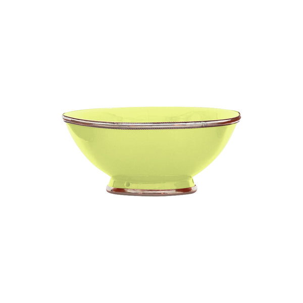 Ceramic Bowl w. Silver Trim, D20 cm, Lime